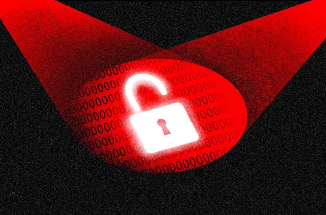 Black And Red Image Of Spotlights On Open Padlock